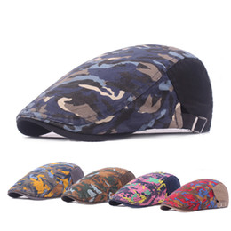 Wholesale Pink Berets - 2017 New Fashion Unisex Camouflage Printing Beret Cap Gorras Planas Duckbill Newsboys Hats Ivy Cabbie Caps For Men And Women