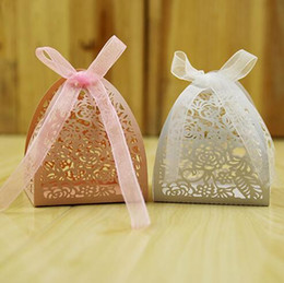 Wholesale Wedding Paper Rose Flowers - Laser Cut Candy Box Hollow Rose Flower Baby Shower Favors Boxes Gifts Candy Boxes Favor Holders With Ribbon Wedding Party Favor Decor
