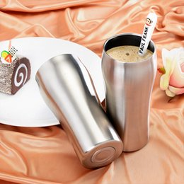 Wholesale Double Layer Tray - 20bb Double Layer Vacuum Mugs Stainless Steel Non Slip Cup Thermal Insulation Coffee Tumbler Wear Resistant 430ml Cups High Quality