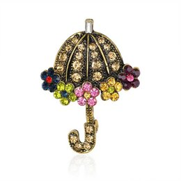 Wholesale High Fashion Umbrella - HNew high quality fashion retro cute umbrella alloy color crystal bride wedding dinner party gift woman brooch