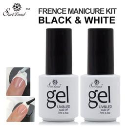Wholesale Kit Nail Art Sticker - Wholesale-Saviland 2pcs French Manicure Nail Gel Kit Nail Art Free Tip Guides Stickers UV LED Curing Long Lasting Gel Nail Polish