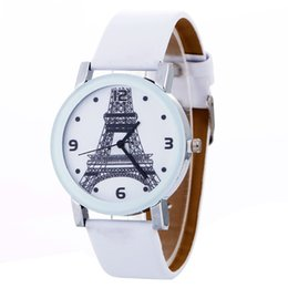 Wholesale Glass Eiffel Towers - Fashion wholesale women leather cat eiffel tower bike bicyle design watch 2017 wholeale girls ladies dress party quartz watches