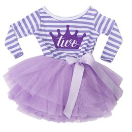 Wholesale tulle bow stripe - Autumn Baby Girl 1 2 Years Birthday Outfits for Infant Kids Party Wear Clothing Stripe Toddler Girl Dress Princess Tulle Clothes