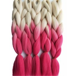 Wholesale Hairstyles Twists - 5pcs lot 100g pc Synthetic Jumbo Braiding Hair Extension Blonde Pink Fashion Color Hair Bulk for Crochet Box Twist Dreadlocks Hairstyle