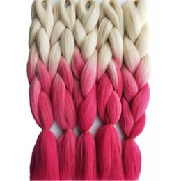 Wholesale Hair Braid Blonde - 5pcs lot 100g pc Synthetic Jumbo Braiding Hair Extension Blonde Pink Fashion Color Hair Bulk for Crochet Box Twist Dreadlocks Hairstyle