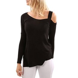Wholesale Womens Long Tunic Tops - Womens Autumn Fashion Cotton Long Sleeve Cold Shoulder Solid Color Full T Shirt Split Flowy Tunic Tops