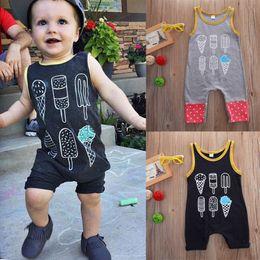 Wholesale Unisex Overalls - Baby Boy clothes Toddler Rompers Overall Shorts Kids Clothing Infant Tracksuit Playsuit Pajamas Vest Bodysuit Black Cotton Jumpsuit