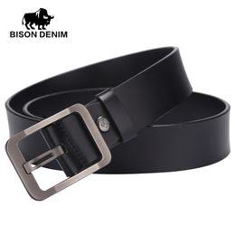 Wholesale Bison Buckle - Wholesale- BISON DENIM 2017 new brand designer leather belt ,belts for men jeans cow leather,Top Layer leather Belts for men's W71152