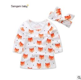 Wholesale Fox Dresses - Newborn Baby Dress Headband Outfit 2017 Summer Cotton Animal Fox Dress for Girls Cute Fox Dresses Ins Clothes Toddler Infant Newborn Clothes