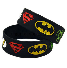 Wholesale Silicone Wristband Superman - mix 50PCS Lot Super Heroes Silicone Bracelet With Superman, Batman, Green Lantern, The Flash, Alternative Design Wristband For The Young