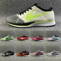 Wholesale Increase Knitting - 24 Colors Women Men Knitting Running Shoes High Quality Breathable Lightweight Run Sport Shoes RACER Outdoor Sneaker Black Red Grey Orange