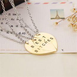 Wholesale Bitch Gifts - 12sets gold best bitches necklace bff best friend forever necklace jewrlry broken heart set friendship necklace 3 necklaces set