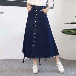 Wholesale Long Cowboy Denim Skirts - The new 2017 joker double-breasted split cowboy bust posed A long words in long skirt of tall waist skirt