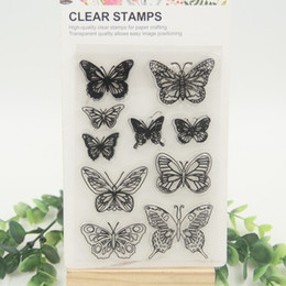 Wholesale Butterfly Design Paper - Wholesale- 1 sheet DIY Butterfly Design Transparent Clear Rubber Stamp Seal Paper Craft Scrapbooking Decoration