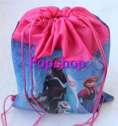 Wholesale Drawstring Backpack Princess - Free shipping New 12pcs Anna Elsa Princess Backpack Frozen Swimming Clothes Environmental PE Toy Drawstring Bag