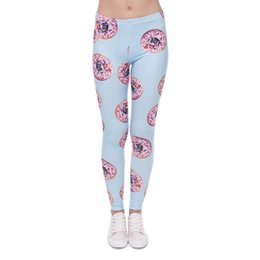 Wholesale Lady Casual Tights - Girl Leggings Donut Pug 3D Graphic Print Women Skinny Stretchy Sky Blue Pencil Pants Lady Tight Capris Casual Jeggings Trousers New (J41595)