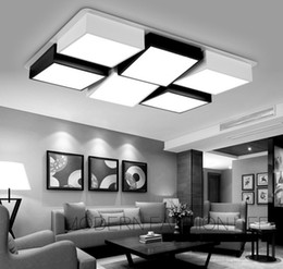 Wholesale Living Room Ceiling Lights Rectangle - Modern Simple Led Acrylic ceiling lights Geometry rectangle White Black Color for living room bedroom home Light Fixture LLFA