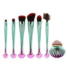 Wholesale Black Blusher - 7pcs Set Seashell Style Handle Makeup Brushes Set Face Foundation Powder Blusher Contour Blending Eye Shadow Eyeliner Brush
