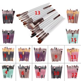 Wholesale Eyebrow Hot - Hot sell 15Pcs Professional Make up Brushes Set Foundation Blusher Powder Eyeshadow Blending Eyebrow Makeup Brushes VS Kylie Lip Kits