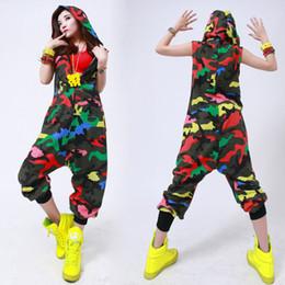 Wholesale Kids Hip Hop Pants - Wholesale- Kids Adult Hip Hop Dance performance Camouflage playsuit loose overalls one piece Pants harem sleeveless Hooded jumpsuit