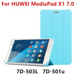 Wholesale Huawei Tablet Casing - Wholesale- Case For Huawei MediaPad X1 7.0 Protective PU Smart cover Leather Tablet For HUAWEI Honor X1 7D-501U 7D-503L Covers Protector