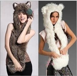 Wholesale Fur Scarf Hat - 3 colors Women Animal Fur Hat Girl Lady Cute Winter Cap Halloween Christmas Gift 100 pcs YYA599