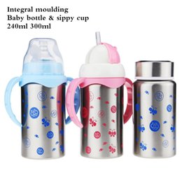 Wholesale Newborn Babies Belts - Wholesale-240ML Mamadeira Baby Bottles Stainless Steel Double Layer Insulation for Newborns Belt Straw Milk Feeding Bottles for Babies