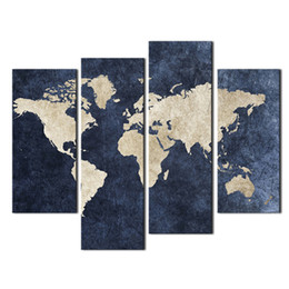 Wholesale World Oil Canvas Panel - 4 panel Map Painting Wall Art Blue Map Flag Painting A World Map With Mazarine Background Picture Print On Canvas For Home Modern Decoration