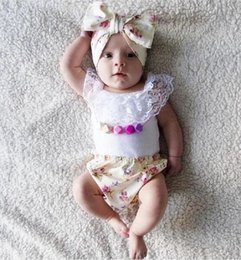 Wholesale infant lace tops - Infant Baby Girls Summer Princess Sets Kids Girl Lace Cotton Tops With Floral Short PP Pants With Bow Headbands Children's Outfits