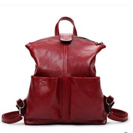 Wholesale Ladies Leather Laptop - New 2017 100% Real Soft Genuine Leather Women Backpack Woman Korean Style Ladies Strap Laptop Bag Daily Backpack Girl School