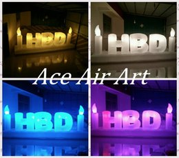 "Wholesale cake decorations china - Beautiful giant Birthday decorations inflatable LED Letter ""Happy Birthday""for cake shops made in China can be custom"
