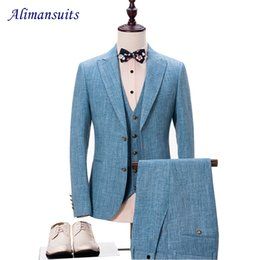Wholesale Linen Suits For Men Wedding - Wholesale- New High quality linen Suits Groom Tuxedos Slim Fit Tailored Suit Peaked Lapel Wedding Suits For Men (Jacket+Pants+Vest+Bow)