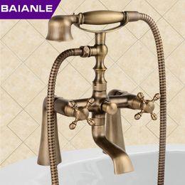 Wholesale Antique Brass Faucet Shower - New arrival Rain Shower Faucets with ceramic Mixer Tap Antique Brass Bath Shower Faucet Set bathtub faucet