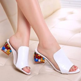 Wholesale Sexy Kitten Heel Sandals - Rhinestone Peep Toe Heels Women Sandals Shoes Sexy Open Toe Wedge Slides Shoes Woman High Heels Sandals Platform Flip flops Plus