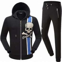 Wholesale Hoodie Skull - 2017 NEW Hot Tide Brand Fit Slim MENS Sport Tracksuit top quality Space Cotton Print Skulls P8546 8545 Casual Hoodie Mens Jackets TrackSuits