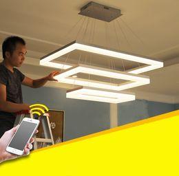 Wholesale Modern Acrylic Foyer Lighting - For restaurant foyer bedroom dinning living room Modern PC plastic Acrylic rectangular square LED pendant light LED hanging lamp LLFA
