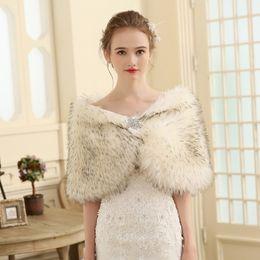 Wholesale Mink Fur Capes - New Off White Ivory Warm Winter Women Wedding Bridal Faux Mink Fur Hair Shawl Wrap Cape Shrug Stole Wedding Coat 2017