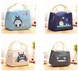 Wholesale Cotton Shoulder Bags - New Portable Cartoon Cute Lunch Bag Insulated Cold Canvas Picnic Totes Carry Case For Kids Women Thermal Bag