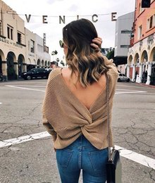 Wholesale Sexy Woman Jumpers - 2017 Women Sexy V Neck Twisted Back Jumpers Backless Cross Long Sleeve Knitted Pullovers Sweaters Pull Femme