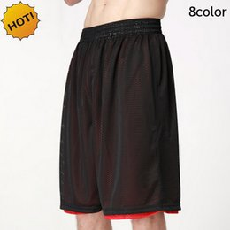 Wholesale Men Double Side Wear - Wholesale- HOT 2016 Outdoors Summer Loose Ball Game Bermuda Breathable Mesh Short Traning Joggers Double Sided wear Wear Plus Size XS-XXL