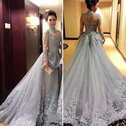 Wholesale Tulle Nude Bodice - High Neck Sheer Long Sleeves Evening Dresses A Line Tulle Lace Appliqued Sequins Prom Dresses Illusion Bodices Red Carpet Gowns