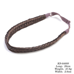 Wholesale Hair Plaited Elastic - High Quality Neitsi 1PC 26cm Fashion Women Girl Synthetic Hair Plaited Elastic Headband Hairband Braided Hair accessories in Bohemian Style