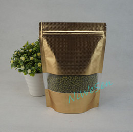 Wholesale Powder Stand - 18x26cm potato powder pouch, 100pcs lot X Stand up matte gold aluminium foil embossing ziplock bag with window-dry fruit sack resealable