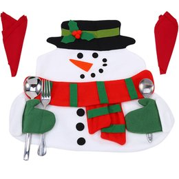 Wholesale Red Placemats - Wholesale- New Year Cute Christmas Santa Claus Placemats Snowman Mat Place Mat Pads With Napkin Dinner Table Christmas Supplies Decorations