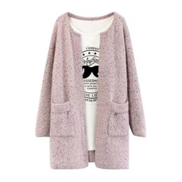 Wholesale Casual Sweeter - Wholesale- New Sweet Solid Color Winter Women Long Sleeve Knitted Sweater Cardigan Collarless Knitted Overcoat