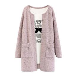 Wholesale- New Sweet Solid Color Winter Women Long Sleeve Knitted Sweater Cardigan Collarless Knitted Overcoat от Поставщики винтажный шерстяной трикотаж