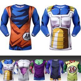 Wholesale Pink Animations - New 2017 men animation 3D tight short sleeve T-shirt Classic Anime Dragon Ball Z Super Saiyan 3d t shirt tees tops