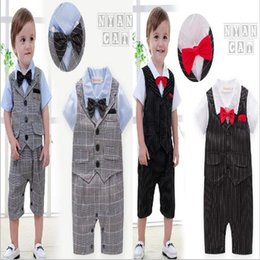 Wholesale Boys Christmas Bow Tie - Hot selling England Style new arrivals summer baby kids stripe and plaid climbing romper cotton short sleeve Bow tie gentleman romper