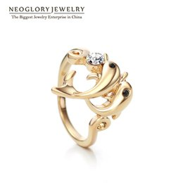 Wholesale Hot New Fashion Jewellery - MADE WITH SWAROVSKI ELEMENTS Gold Plated Fashion Dolphin Cute Rings Charm Neoglory Gifts Teens Girls Jewellery 2017 New Hot Wholesale