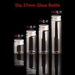 Wholesale Aluminum Box Tube - Dia 37mm Screw Neck Glass Bottle with Aluminum Cap Glass Tube Container,cut tobacco box-30pcs